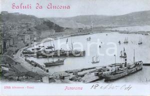 1904 ANCONA Veduta panoramica del porto con navi e barche *Cartolina FP NV