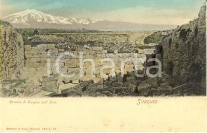 1900 ca SIRACUSA Il Castello di EURYLUS con l'ETNA sullo sfondo *Cartolina FP NV