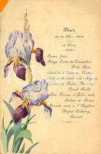 1903 BRANGES (F) ? Banchetto per la prima comunione *Menù ILLUSTRATO DANNEGGIATO