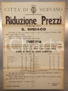 1947 VIGEVANO (PV) Riduzione dei prezzi dei generi alimentari *Manifesto