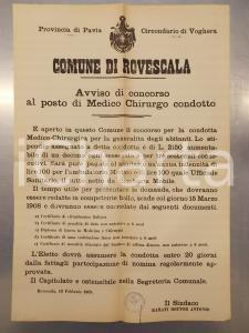 1908 ROVESCALA (PV) Bando per concorso di Medico Chirurgo condotto *Manifesto