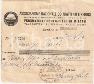 1969 MILANO - BOVISA Associazione combattenti e reduci Sez. DERGANO *Ricevuta