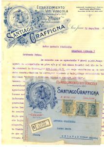 1919 SAN JUAN (ARGENTINA) Lettera Santiago GRAFFIGNA establecimiento vinicola