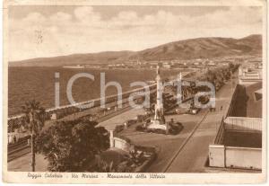 1950 REGGIO CALABRIA Monumento della Vittoria in Via Marina *Cartolina FG VG
