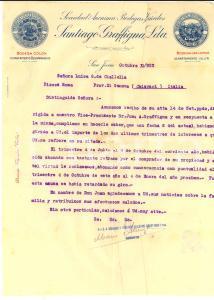 1923 SAN JUAN (ARGENTINA) Santiago GRAFFIGNA vini - Lettera a Luisa CIALLELLA