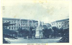 1926 ANCONA Veduta di PIAZZA CAVOUR *Cartolina ILLUSTRATA FP VG