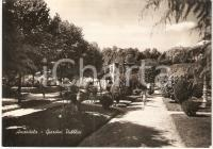 1952 AMANDOLA (FM) Bambini ai giardini pubblici *Cartolina postale ANIMATA FG VG