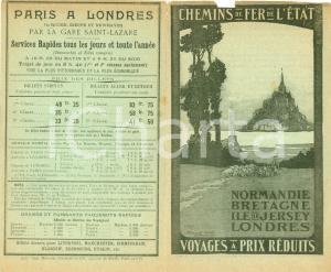 1911 PARIS Chemins de fer de l'Etat pour NORMANDIE et BRETAGNE Tariffe