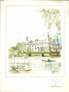1968 Pierre PAGES Chateau RAMBOUILLET *Menù AIR FRANCE volo MONTEVIDEO-PARIS