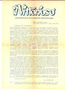 1954 ROMA IL VITTORIOSO Periodico cristiano per ragazzi *Lettera pubblicitaria