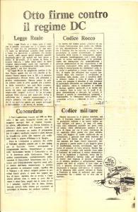 1980 MILANO LOTTA CONTINUA Otto firme contro la DC *Volantino ciclostilato