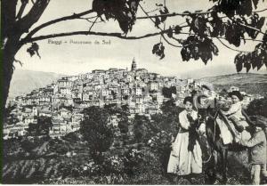 1956 FIUGGI (FR) Panorama da Sud con contadini in costumi tipici e asino *FG VG