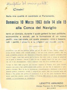 1963 MILANO Lesotto ANNUNZIO fa dimettere DUCE e converte Cinesi a Cristianesimo