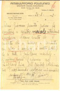 1942 MILANO Casa di cura del POLICLINICO Specialità medico-chirurgiche