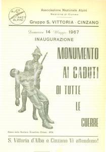 1967 CINZANO (CN) Inaugurazione monumento ai Caduti Gruppo Alpini SANTA VITTORIA