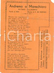 1955 ca NISA Andremo a MARECHIARO Ritmo allegro *Volantino DANNEGGIATO