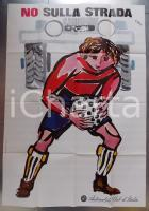 1971 AUTOMOBILE CLUB ITALIA No sulla strada Illustratore Ercole BRINI Manifesto