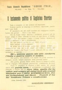 1918 MILANO Fascio Giovanile Repubblicano GIOVINE ITALIA Testamento OBERDAN