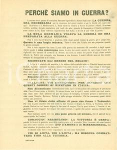 1915 PROPAGANDA WW1 Italia in guerra per evitare gli orrori del BELGIO Volantino
