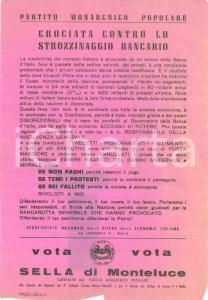 1953 TORINO ELEZIONI POLITICHE Paolo SELLA MONTELUCE vs strozzinaggio bancario
