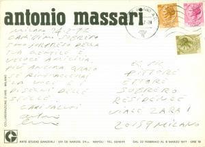 1977 NAPOLI Pittore Antonio MASSARI *Cartolina illustrata con AUTOGRAFO