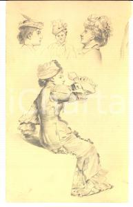 1930 ca STORIA DELLA MODA Bozzetto a matita di donna in abito Primo Novecento
