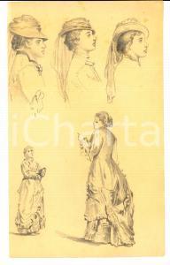 1930 ca STORIA DELLA MODA Bozzetto a matita di donne in abito Primo Novecento