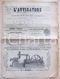 1896 FIRENZE Rivista L'AVVISATORE macchine caldaie fonderie ANNO I FASCICOLO I