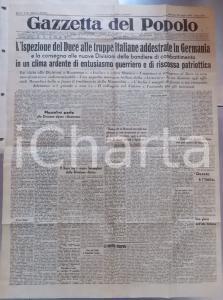 1944 WW2 GAZZETTA DEL POPOLO RSI Ispezione di MUSSOLINI a truppe in GERMANIA