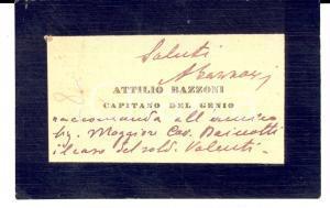 1920 ca ARMA DEL GENIO Biglietto da visita capitano Attilio BAZZONI *Autografo