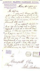1940 ROMA Albergo MASSIMO D'AZEGLIO Lettera d'amore di Nino a Clara CAMPETTI