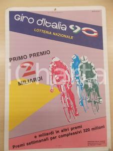 1990 GIRO D'ITALIA Lotteria nazionale *Locandina illustrata A. CAMAETI 25x35 cm
