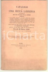 1885 ROMA Libreria Cornelio VAN-RIEL Catalogo asta libri prof. CONSONI