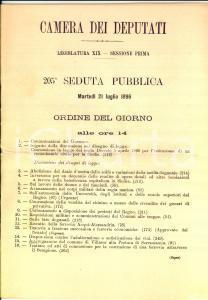 1896 CAMERA DEI DEPUTATI Legislatura XIX - Ordine del giorno *Dazio zolfo