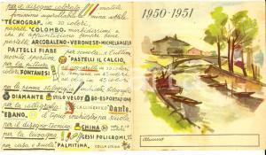 1951 Matite EVEREST Calendario pubblicitario e orario lezioni *ILLUSTRATO