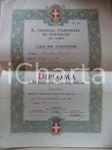 1930 COMO Istituto Nazionale Setificio - Diploma tessitore Romeo BIANCHI