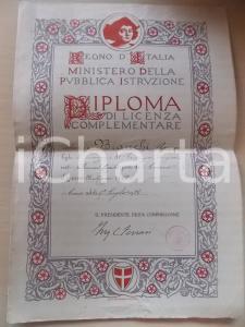 1926 REGNO D'ITALIA COMO Diploma Romeo BIANCHI - Licenza complementare