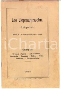 1885 BERLIN Antiquariat Leo LIEPMANNSSOHN Katalog 38 Arts -Costume militaire