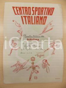 1954 COMO CENTRO SPORTIVO ITALIANO Diploma atleta Bruno GALLI Ill. MANCIOLI