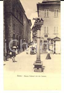 1910 ca SIENA Piazza TOLOMEI con via CAVOUR *Cartolina ANIMATISSIMA FP NV