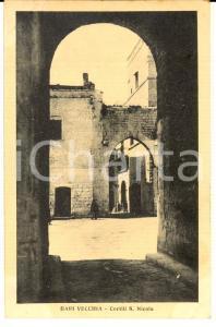 1930 ca BARI VECCHIA Veduta dei cortili di SAN NICOLA *Cartolina postale FP NV