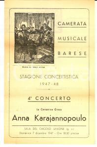 1947 BARI Camerata Musicale - Concerto cantante Anna KARAJANNOPOULO *Programma