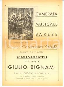 1947 BARI Camerata Musicale Barese - Concerto Giulio BIGNAMI *Programma