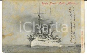 1900 ca MARINA MILITARE Regia Nave CARLO ALBERTO *Cartolina FP VG