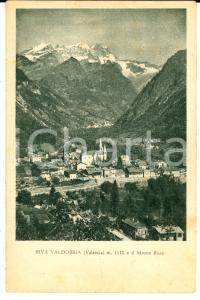 1930 ca RIVA VALDOBBIA (VC) Veduta del paese con il MONTE ROSA *Cartolina FP NV