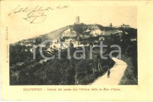 1903 SOLFERINO (MN) Veduta del paese con la spia d'Italia *Cartolina FP VG
