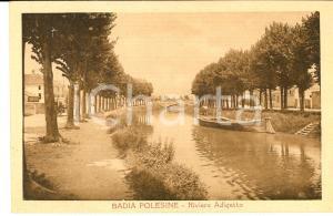 1920 ca BADIA POLESINE (RO) Riviera ADIGETTO *Cartolina ANIMATA con barcaiolo