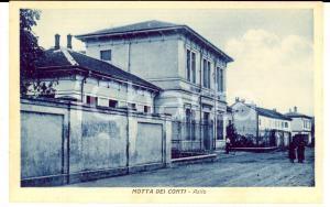 1930 ca MOTTA DEI CONTI (VC) Veduta dell'asilo *Cartolina ANIMATA FP NV