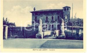 1930 ca MOTTA DEI CONTI (VC) Entrata e facciata del Castello *Cartolina ANIMATA