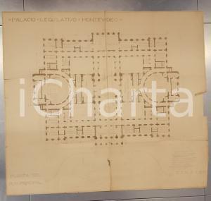 1925 ca MONTEVIDEO (URUGUAY) Palacio Legislativo *Planimetria cm 70 x 62